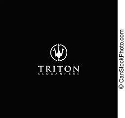 fundo, ilustração, eps, vetorial, escudo, branca, 10., triton, pretas, modelo, design., logotipo