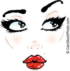 fundo, ilustração, rosto, detalhes, bonito, branca