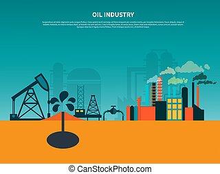 fundo, indústria óleo, apartamento