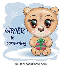 fundo, inscrição, caricatura, patas, presente natal, urso grande, olhos, cute, inverno