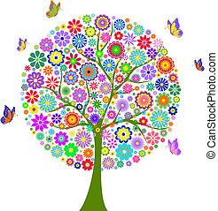 fundo, isolado, branca, árvore, coloridos, flor