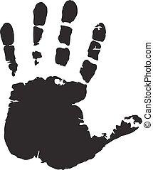 fundo, isolado, mão, human, impressão, branca