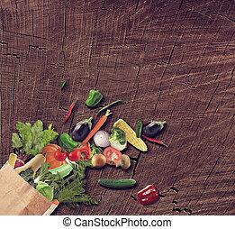 fundo, madeira, isolado, alimento, saudável