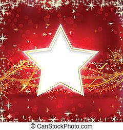 fundo, natal, dourado, estrela vermelha