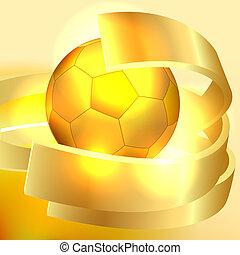 fundo, ouro, bola, futebol