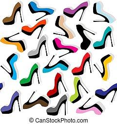 fundo, seamless, alto, sapatos, calcanhares
