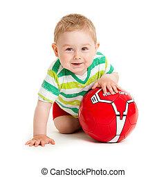 fundo, tocando, criança, jogo, pequeno, bonito, bola, isolado, branca, menino, ball.