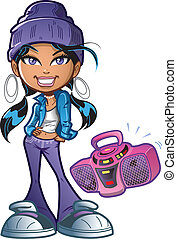 funky, boombox, menina