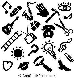 funky, vetorial, objetos
