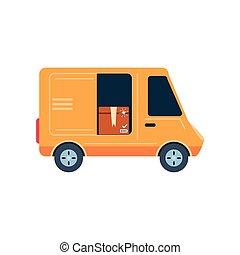 furgão, fundo, branca, carga, transporte