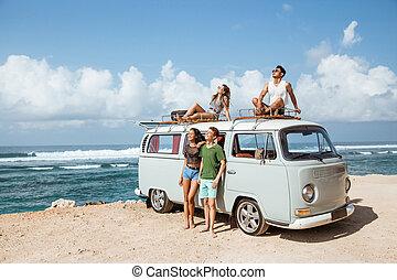 furgão, relaxante, telhado, hipster, retro, amigos menina
