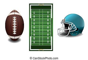 futebol, americano, capim, textured, campo