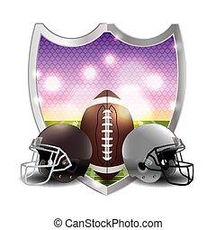futebol americano, emblema, ilustração
