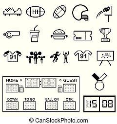 futebol americano, jogo, ícone