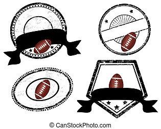 futebol americano, tema, vazio, selos