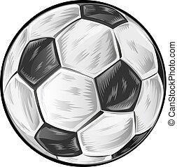 futebol, bola branca, isolado, fundo