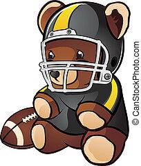 futebol, caricatura, urso, pelúcia