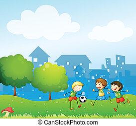futebol, crianças, tocando, três, colina