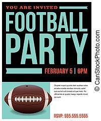 futebol, ilustração, americano, voador, convite, partido