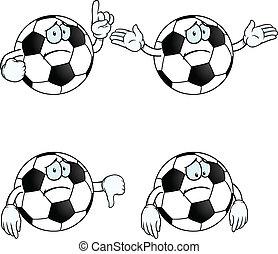 futebol, jogo, caricatura, triste