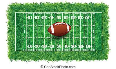 futebol, real, textured, americano, capim, ilustração, vetorial, campo