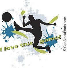 futebol, socc, homem, chutando, desenho