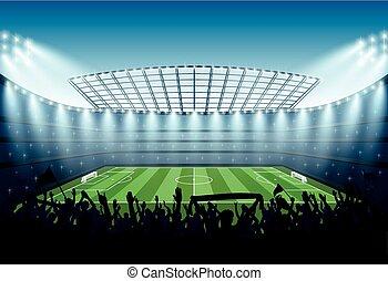 futebol, stadium., excitado, torcida, pessoas