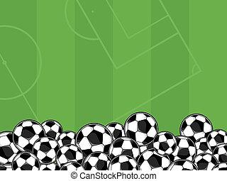 futebol, vetorial, fundo, bolas