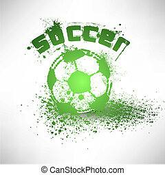 futebol, vetorial, grunge, bola