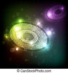 futurista, abstratos, tecnologia, fundo, coloridos