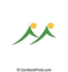 gêmeo, símbolo, logotipo, vetorial, sol, montanha