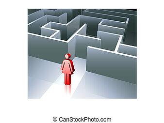 gênero, fundo, figura, negócio, labirinto