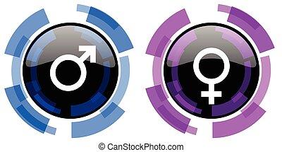 gênero, vetorial, macho, femininas, ícones