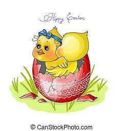 galinha, feliz, ilustração, sentar, easter., ovo, vetorial, dois, vermelho