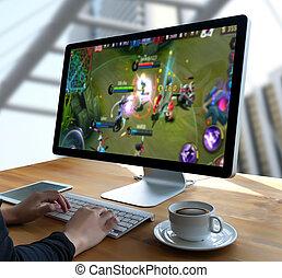 gamepad, online, jogos jogo, jogo, gamer, divertimento, homem, conceito, esports