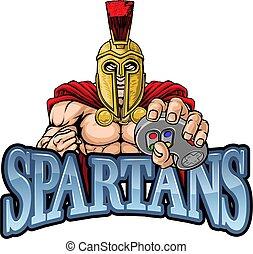 gamer, mascote, spartan, trojan, controlador, guerreira