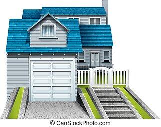 garagem, anexado, casa, concreto