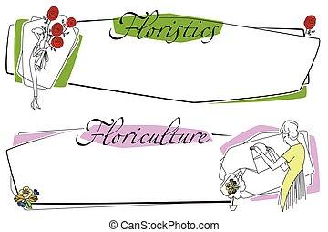 garden., flowers., mulher, illustration., estoque