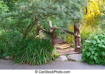 garden., madeira, sobre, rio, passarela