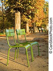 garden., parisian, cadeiras, parque, paris, luxemburgo, paris., outono, frança, típico