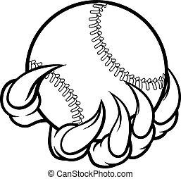 garra, monstro, beisebol segurando, bola