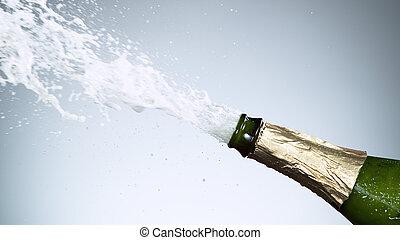 garrafa, close-up, explosão, champanhe