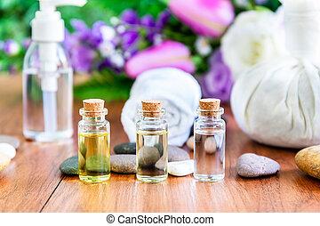garrafa, conceito, spa, óleo essencial
