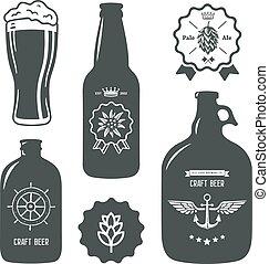garrafas, vindima, sinal, cerveja, arte, etiqueta, cervejaria