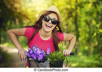 gastando, mulher feliz, tempo, natureza