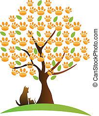 gato, árvore, logotipo, cão