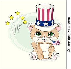 gato, américa, dia, independência, feliz
