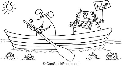 gato, bote, desenho, black-white, cão