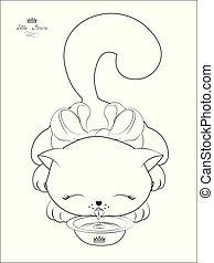 gato, livro, leite, oloring, bebidas