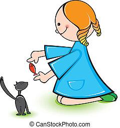 gato, menina